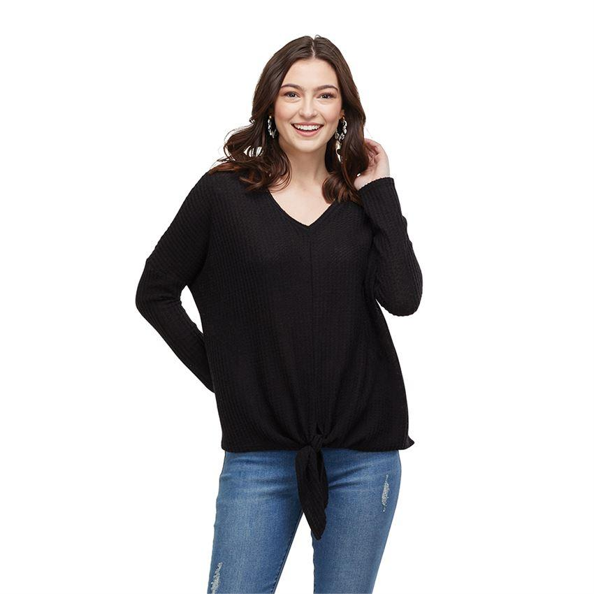 Pepper Tie Front Waffle Knit Top In Black