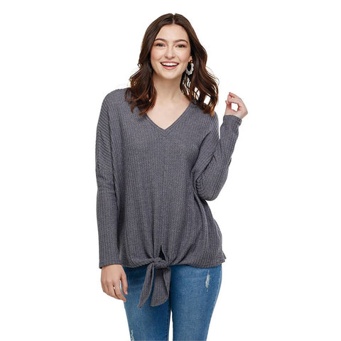 Pepper Tie Front Waffle Knit Top in Gray
