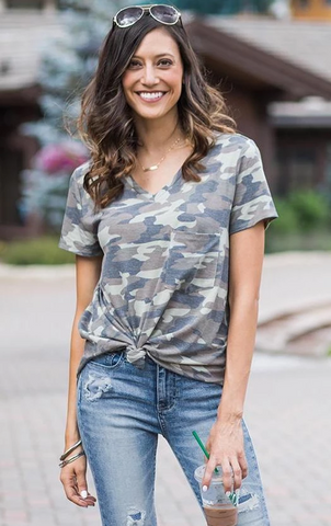 Grace & Lace Short Sleeve Perfect Pocket Tee in Camo