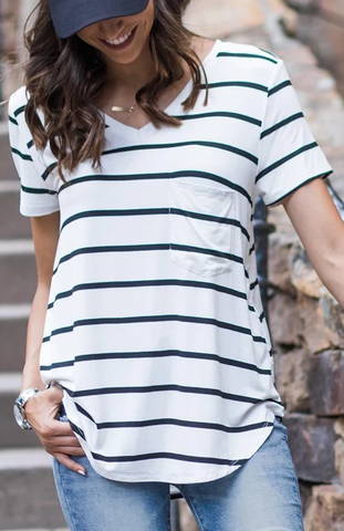 Penelope Short Sleeved Perfect Pocket Tee By Grace & Lace - White With Black Stripes