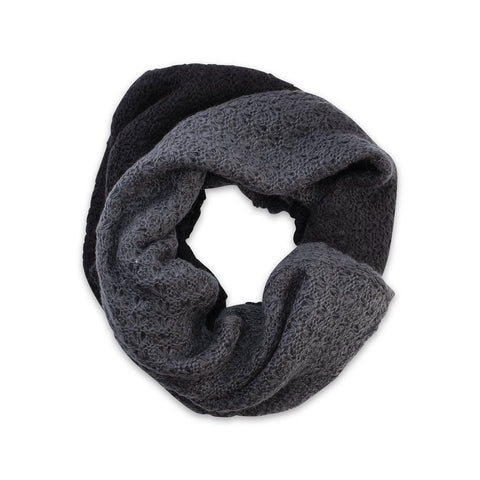 Veronica Infinity Scarf in Black and Grey Ombre