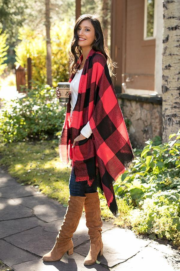 Grace & Lace Pocket Poncho/Scarf in Red/Black Buffalo