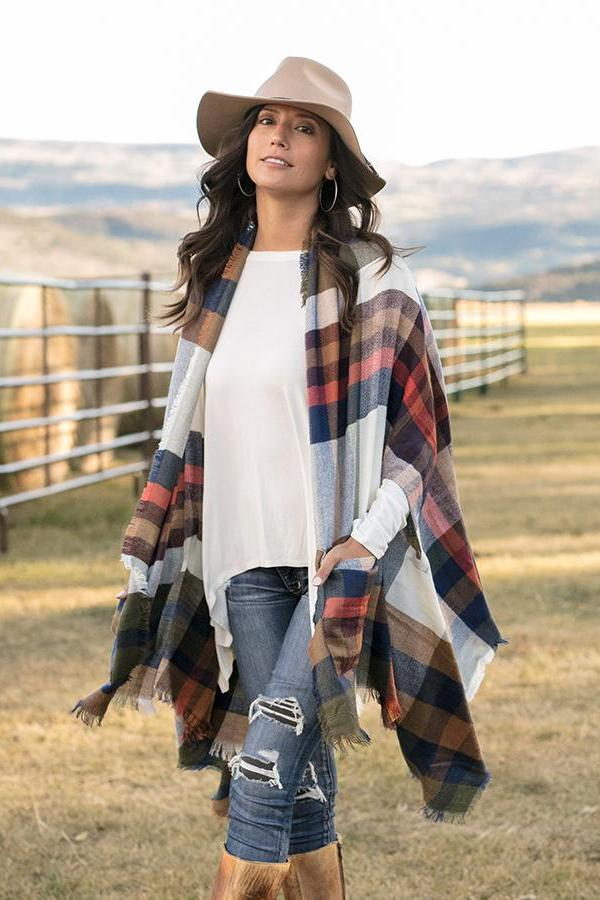 Grace & Lace Pocket Poncho/Scarf - Autumn Plaid