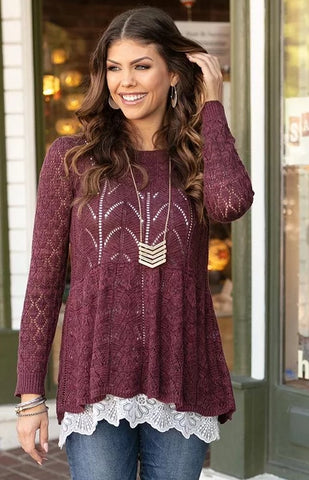 Grace & Lace 'Pointelle Peplum Sweater' In Raisin
