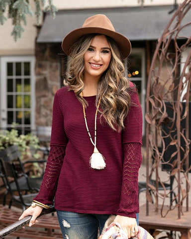 Pointelle Sleeve Sweater by Grace & Lace, Burgundy