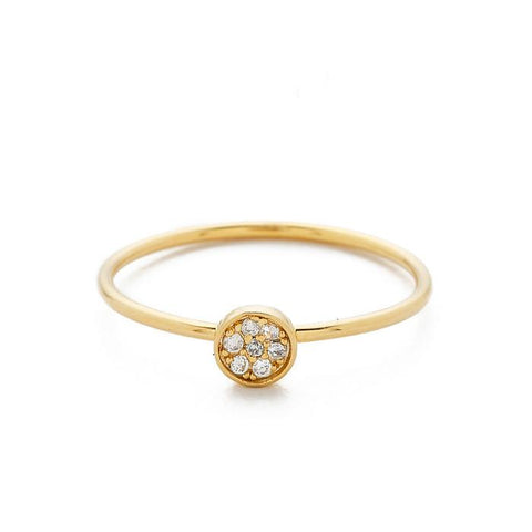 Tai Jewelry CZ Disc Ring In Gold