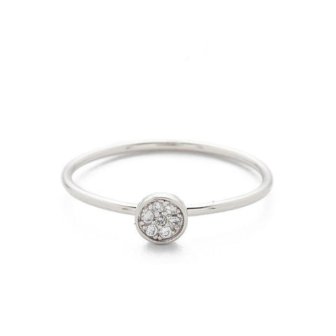 Tai Jewelry CZ Disc Ring In Silver