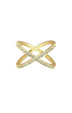 CZ Criss Crossed Gold Ring