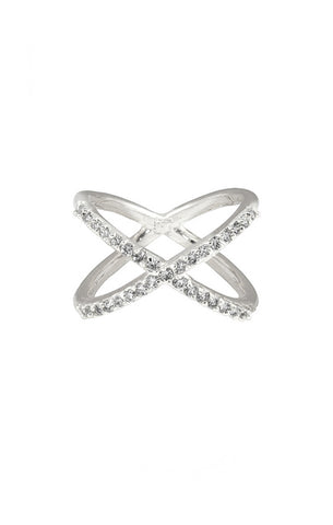 CZ Criss Crossed Silver Ring