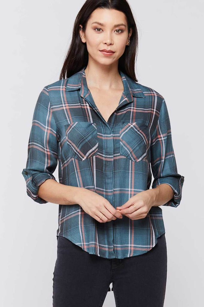 Riley Button Up Plaid Shirt, Green