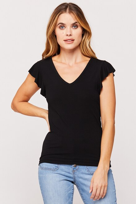 Rochelle Ruffle Sleeve Top in Black