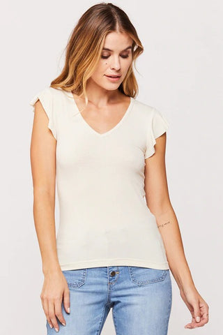 Rochelle Ruffle Sleeve Top in Ivory