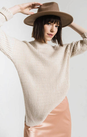 Laura Slit Tunic Sweater in Ivory