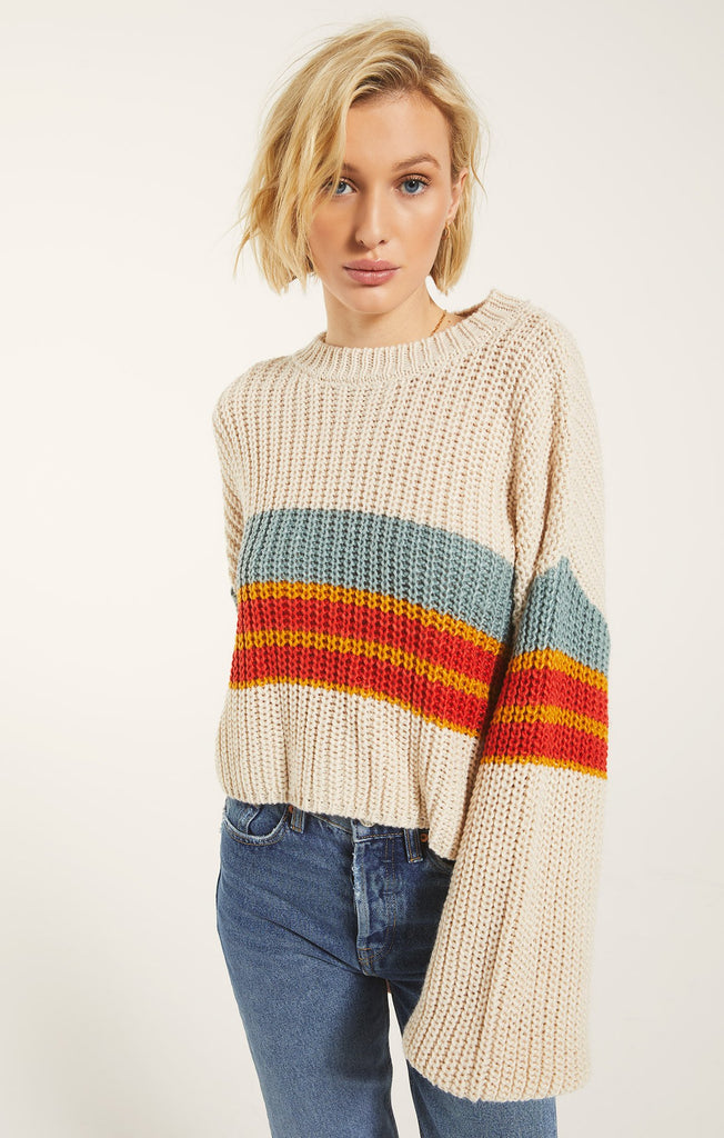 Yona Stripe Sweater, Oatmeal