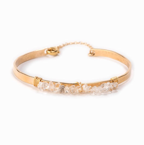 Ravi Gold and Wrapped Crystal Bracelet