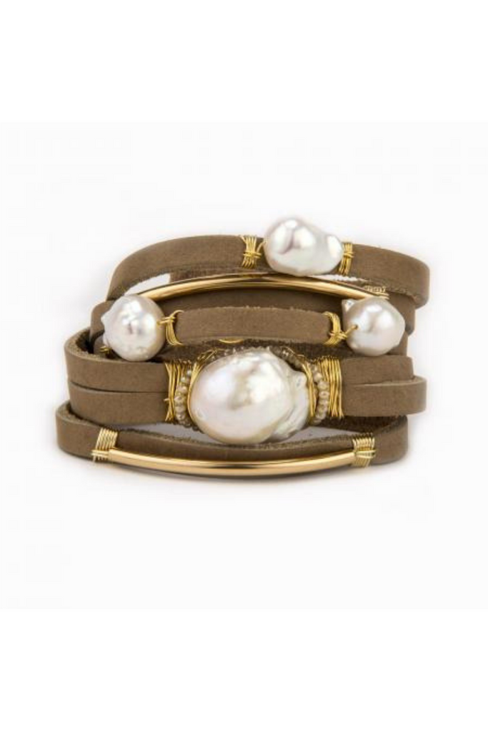 Taylor and Tessier River Leather and Pearl Bracelet