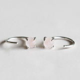 Silver Rose Quartz Huggie Earrings
