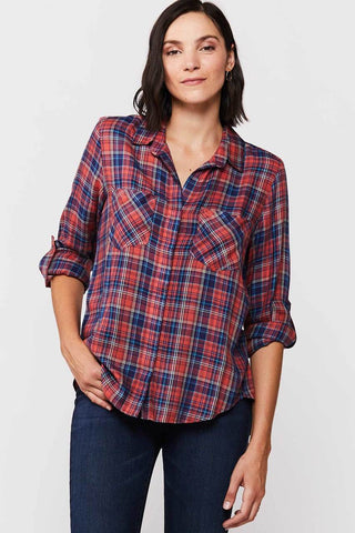Riley Button Up Plaid Shirt, Rust/navy