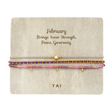 Set of 3 Birthstone Bracelets, February