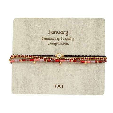 Set of 3 Birthstone Bracelets, January