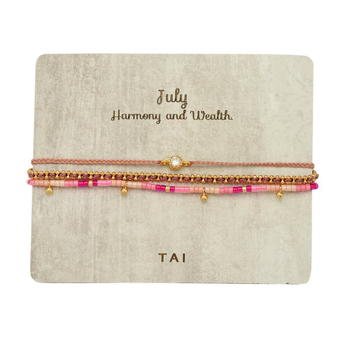Set of 3 Birthstone Bracelets, July