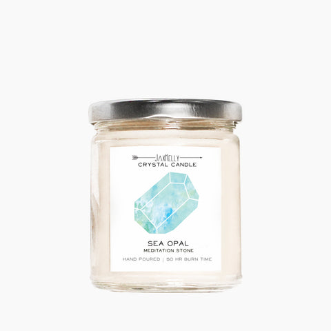 Sea Opal Crystal Candle – Meditation