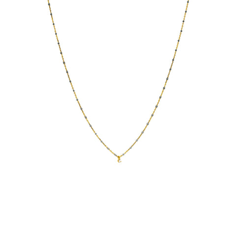 Tai Jewelry Gray Beaded Necklace With CZ Stone