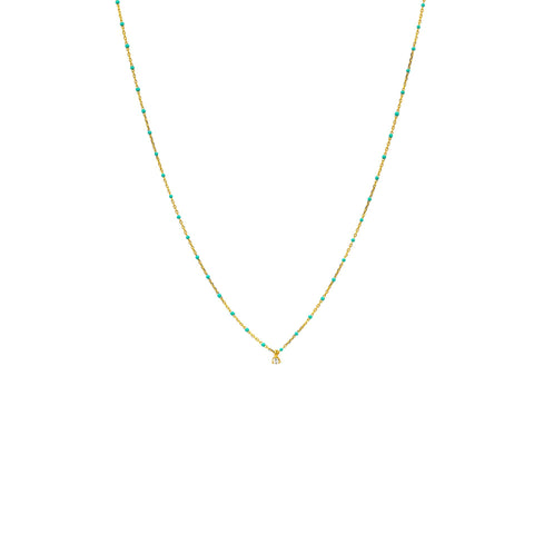 Tai Jewelry Turquoise Beaded Necklace With CZ Stone