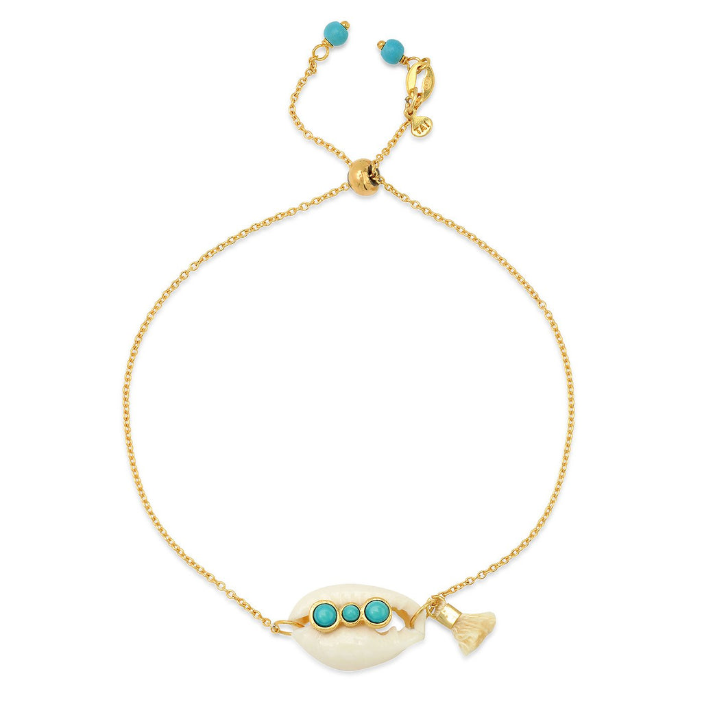 Tai Jewelry Cowrie Shell Bracelet With Turquoise
