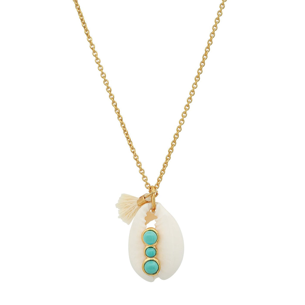 Cowrie Shell Necklace With Turquoise