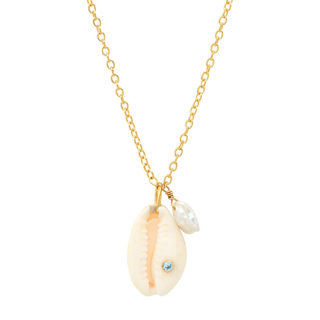 Tai Jewelry Cowrie Shell Necklace With Aqua CZ & Pearl