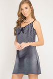 Quincy Striped Rib Knit Dress - Navy