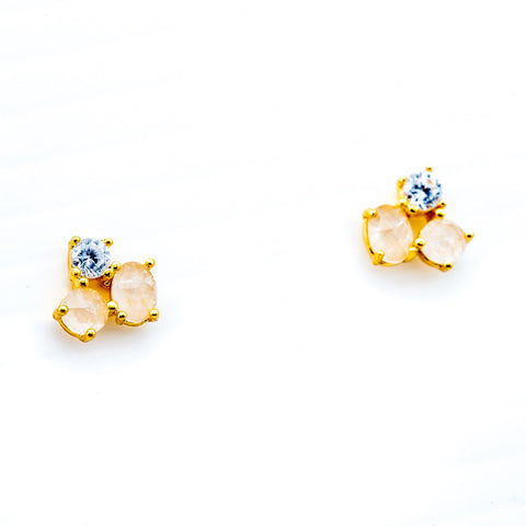 Cluster Stone Stud Earrings, Gold