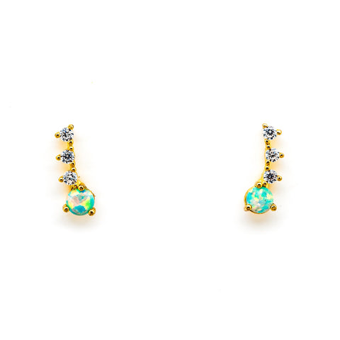 Tai Jewelry CZ & Opal Crawler Earrings