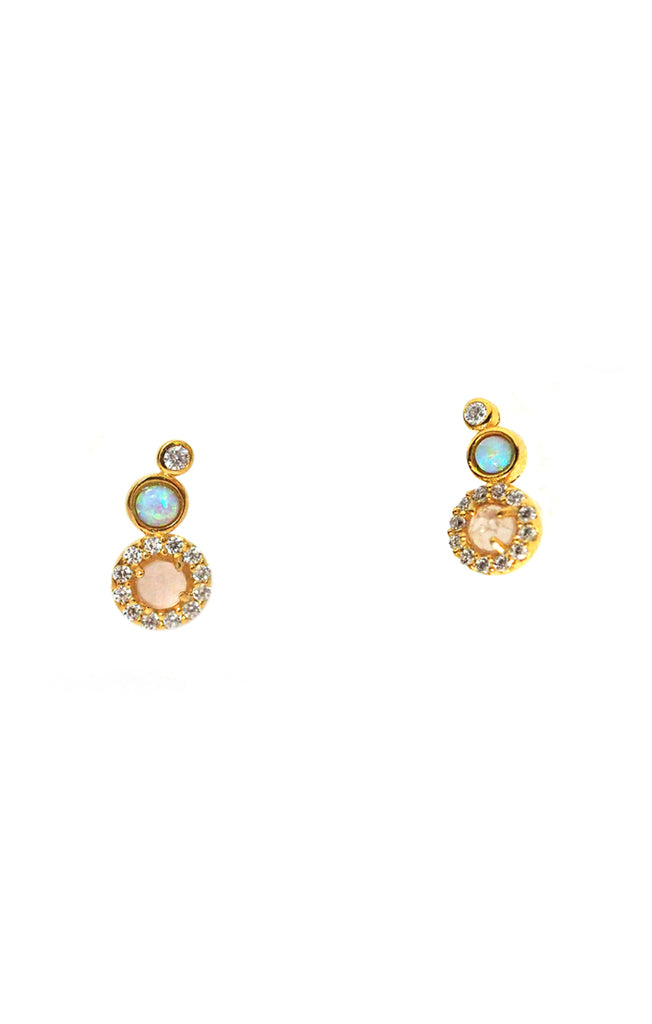 Gold Vermeil Rose And Opal Climber Earings With CZ Accents Tai Jewelry