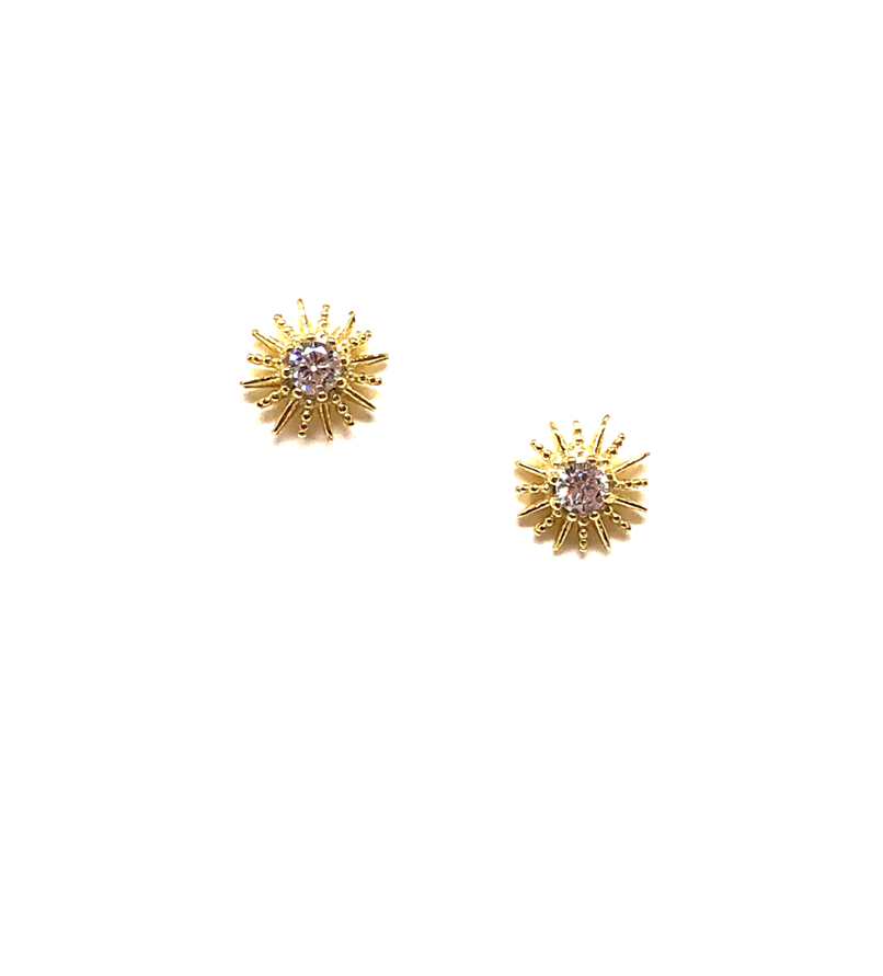 Olivia Gold Sunburst Studs With CZs