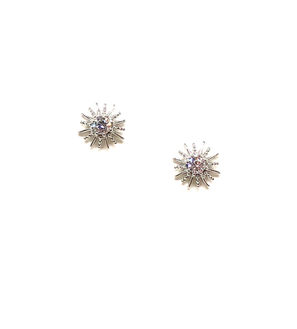 Olivia Silver Sunburst Studs With CZs