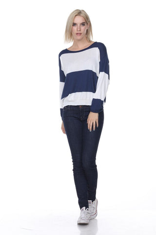 My Tribe Marina Striped Sweater In Navy