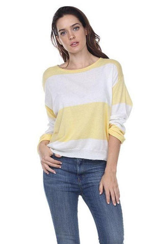 My Tribe Marina Striped Sweater In Yellow