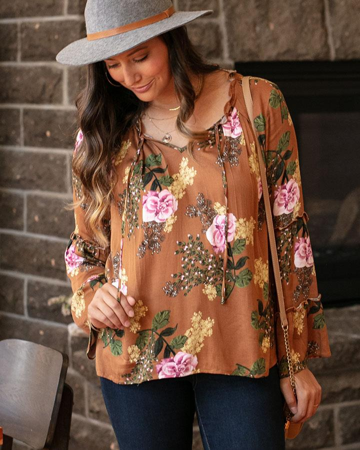 Sable Top by Grace & Lace, Earth Floral