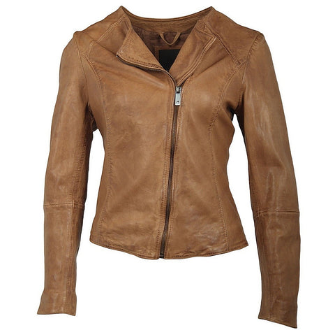 Saena Cognac Leather Jacket