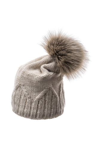 Sasha Beanie Ivory with faux fur pom pom