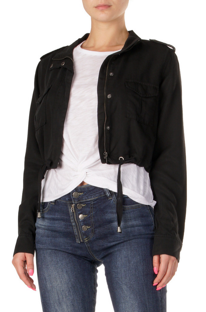 Vera Cropped Cargo Jacket, Black