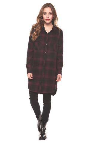 Elise Plaid Button up Tunic In Burgundy