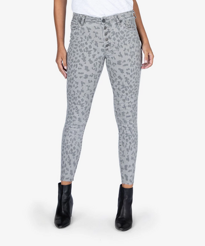 Connie High Rise Skinny, Grey Leopard
