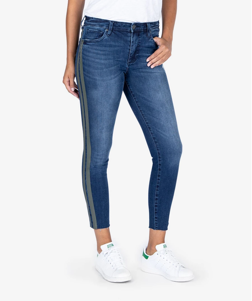 Connie High Rise Ankle Skinny in Plant wash
