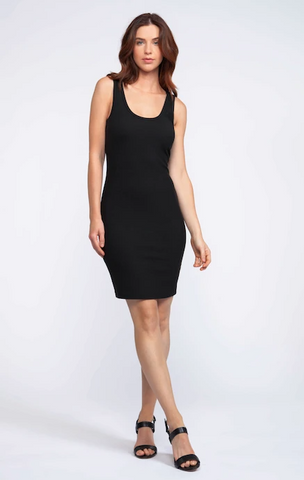 Deia Black Ribbed Dress