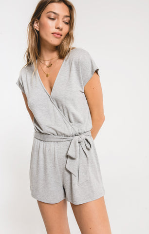 Claret Surplice Romper In Heather Grey
