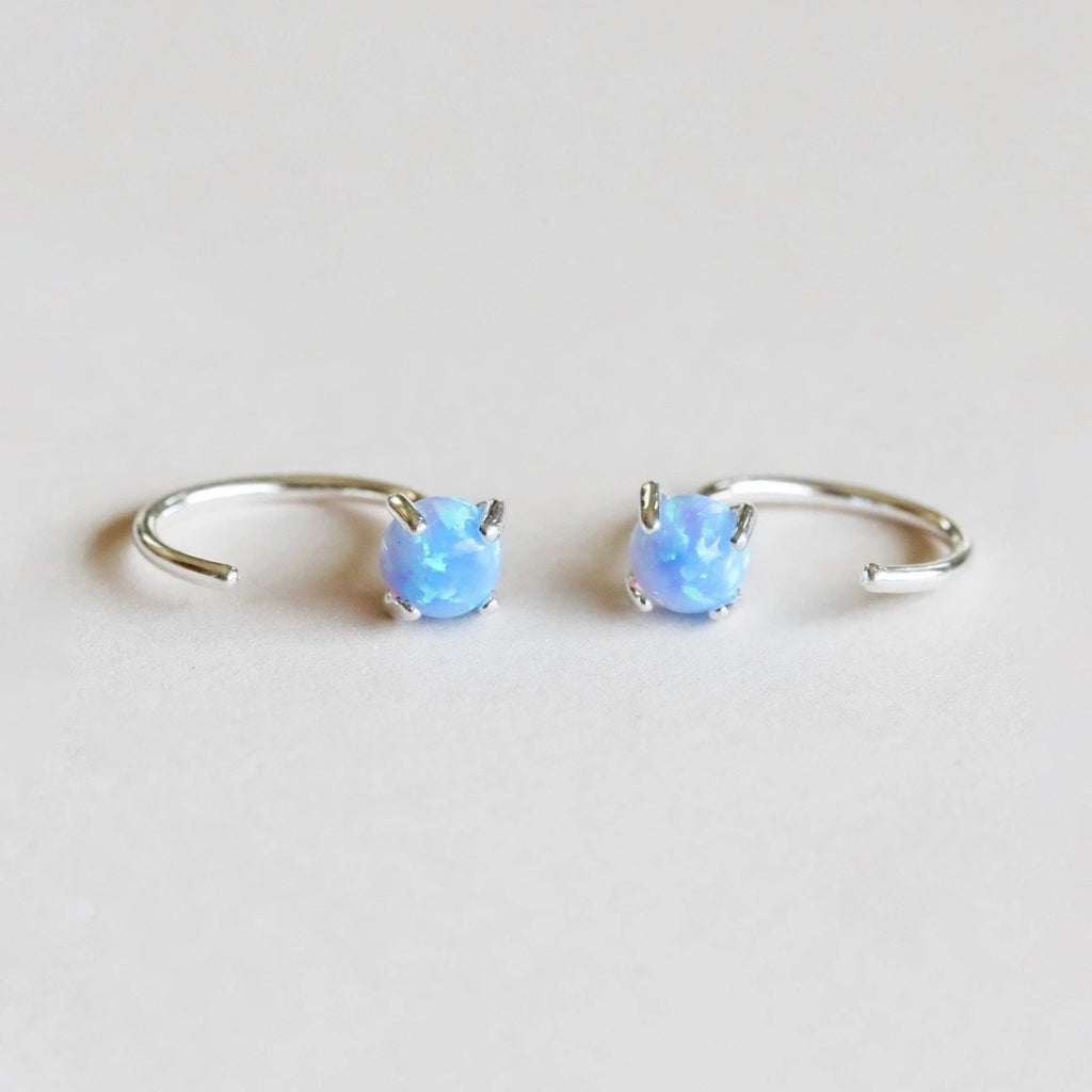 Silver opal huggie earrings