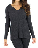 Grace & Lace Lounge Day Top - Heathered Black